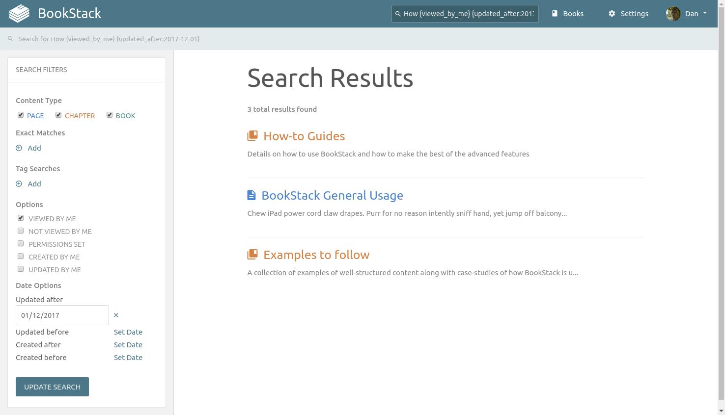 Recherche BookStack