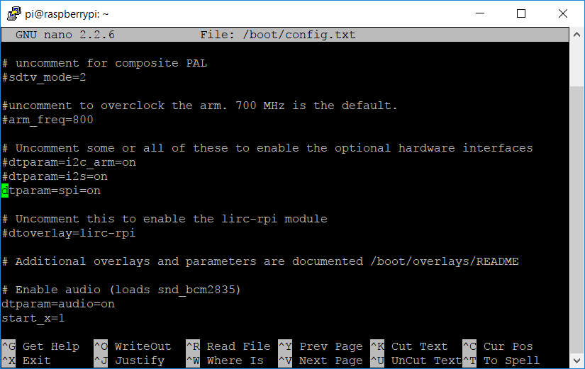 Vérification de l'option spi=on Raspberry Pi
