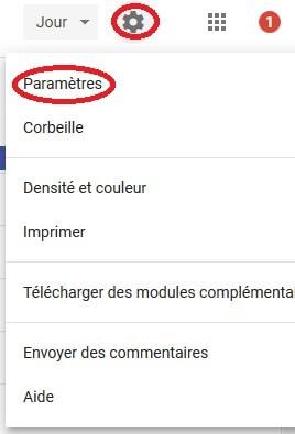 Paramètre Google Agenda