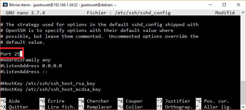 Bitvise - Changement de port SSH