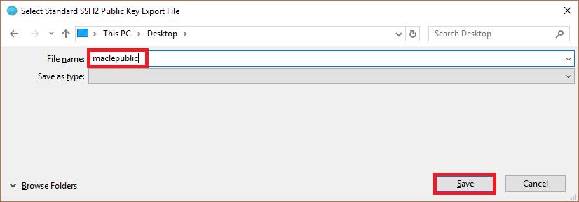 Bitvise - Enregistrement de la clé