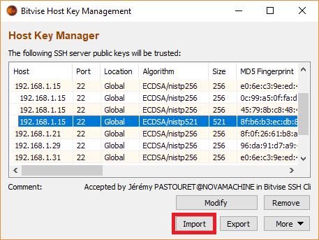 Bitvise - Importer clé SSH Server
