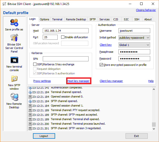 Bitvise - Paramètre Host Key Manager