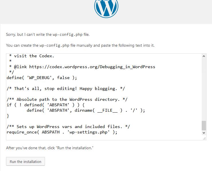 Copie des éléments de configuration de WordPress