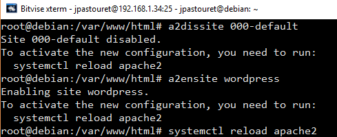 Désactive conf par défaut active nouveau site et refresh Apache2