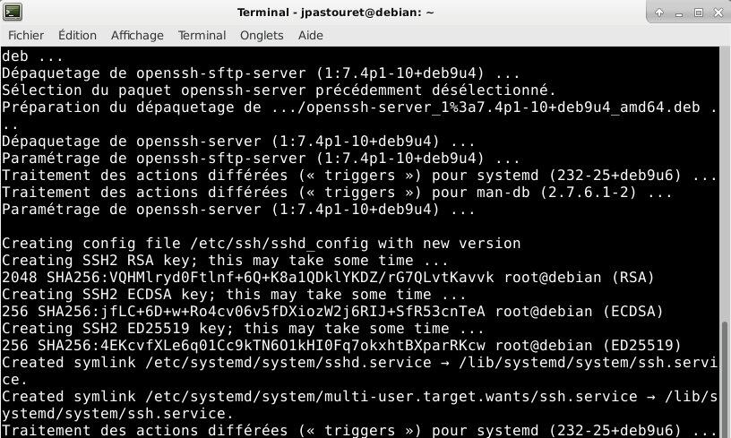 Debian 9 - install openssh-server