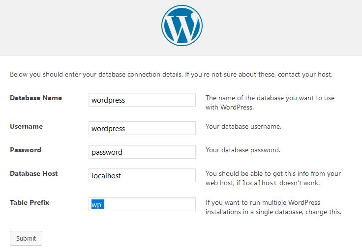 Installation de WordPress - Paramétrage de la base de données