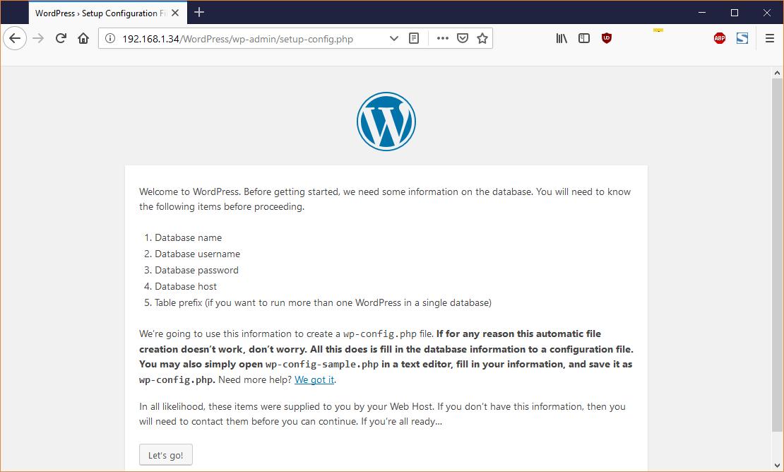 Lancement de WordPress