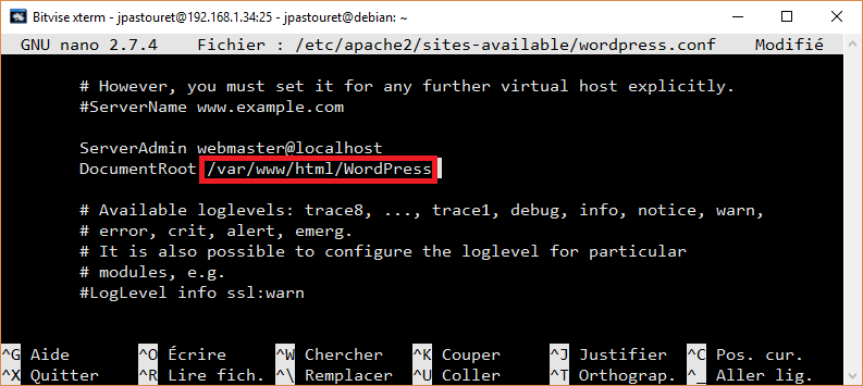 Modifier la configuration Apache2 de WordPress