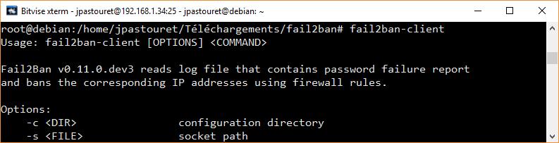 Vérification de l'installation fail2ban-client