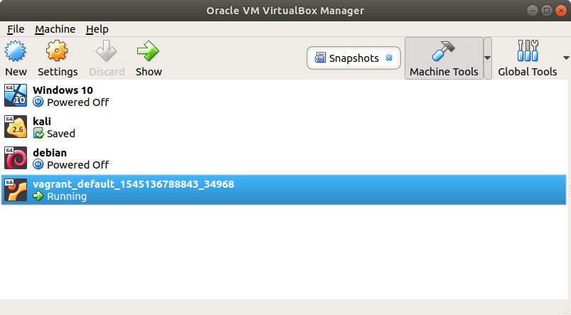 Machine Vagrant dans VirtualBox