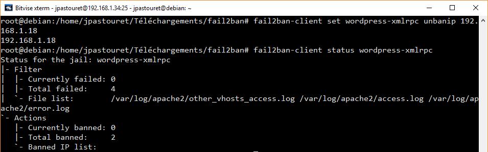 Unban|débannir xmlrpc IP avec fail2ban
