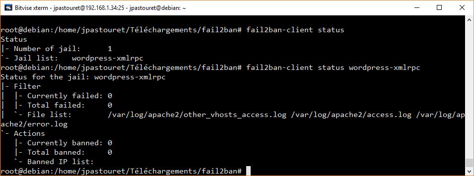 Vérification du status de la prison WordPress Fail2ban