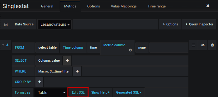 Grafana - Passer en mode Edit SQL
