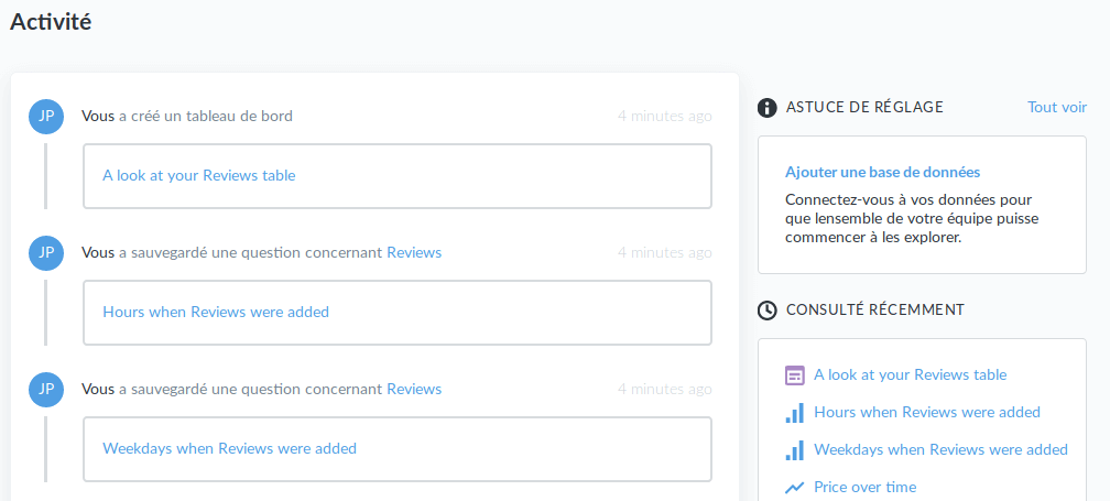Metabase - Actions par utilisateurs
