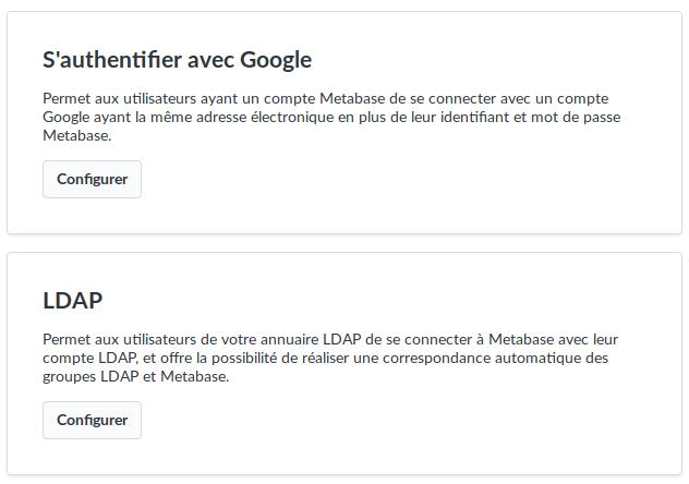 Metabase - Importation de compte