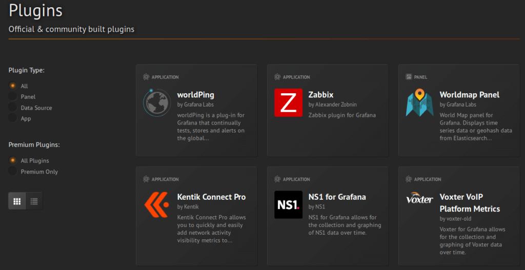 Grafana - Liste plugins