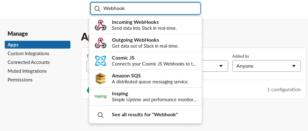 Slack - installation de l'application WebHook