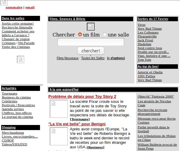 Archive.org - Allociné en février 1999