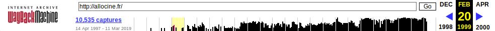 Archive.org - Frise du temps d'allocine