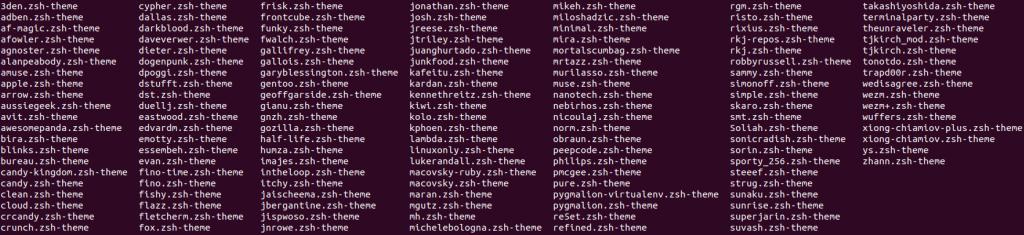 Oh My Zsh - Liste des thèmes