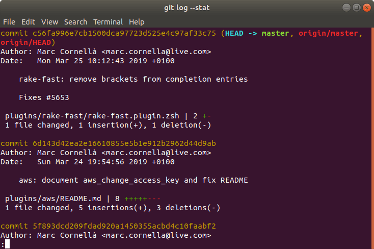 Oh My Zsh - git log with glg