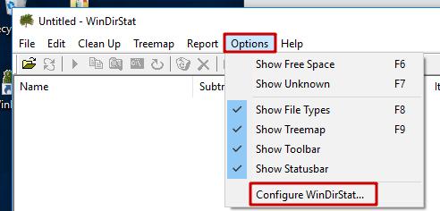WindirStat - Configuration de l'interface