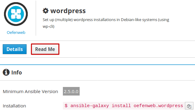 Ansible Galaxy - Lire la documentation