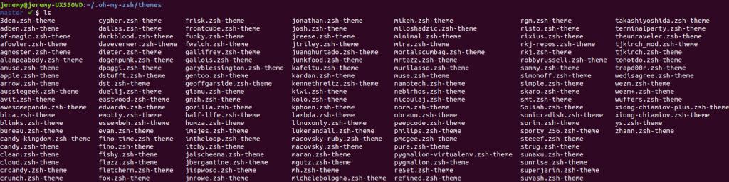 Liste des thèmes disponibles pour Oh My Zsh