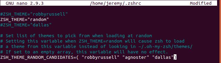 Oh My Zsh - Sélection aléatoire de thème