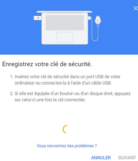 Enregistrez votre clé de sécurité sur Google