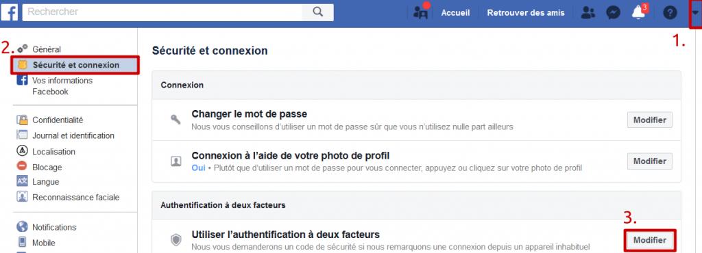 Facebook - Utilisation de la double authentification