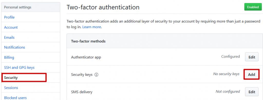 GitHub - Clé de sécurité