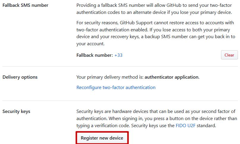 GitHub - Enregistrer une clé de sécurité