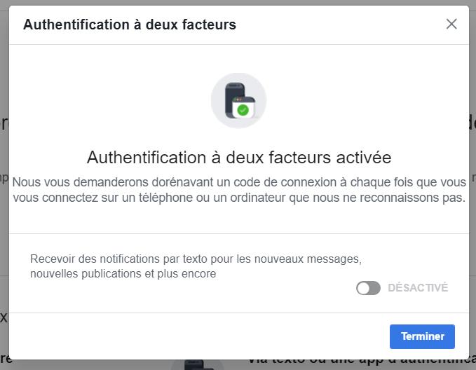 Popup activation authentification deux facteurs Facebook