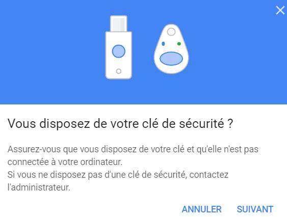 Préparation de connexion à une clé de sécurité sur Google