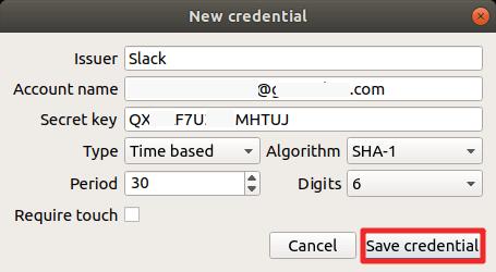 YubiKey - Enregistrement de la clé sur le logiciel d'authentification
