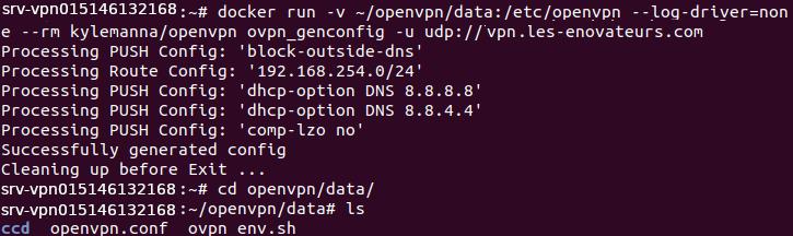 Création des fichiers de configutation pour OpenVpn