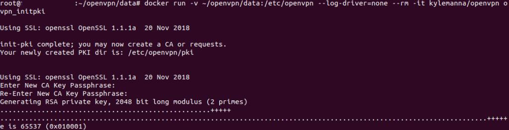 Génération de la clé privé du serveur VPN