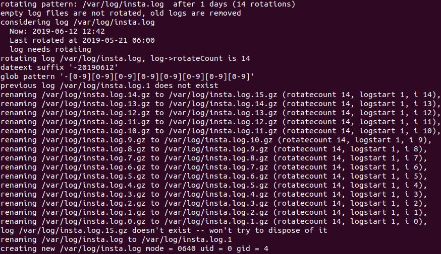 Logrotate - debogage de script de configuration