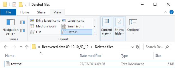 Fichier récupéré avec EaseUS