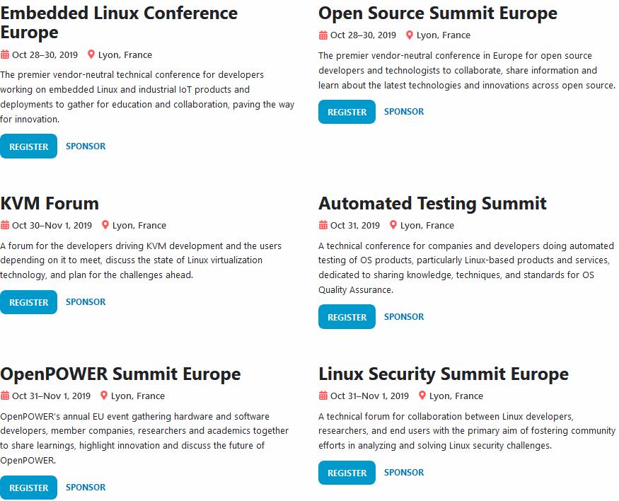 Les Evenement de l'Open Source Summit Lyon 2019