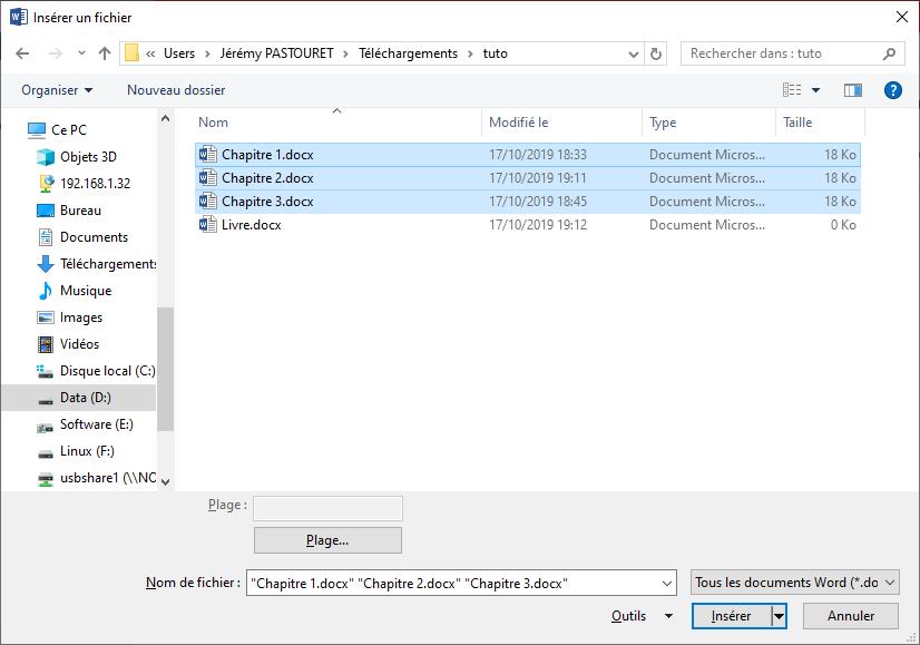 Sélection des fichiers