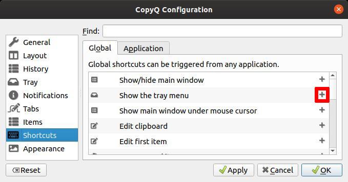 CopyQ - Ajout d'un raccourci