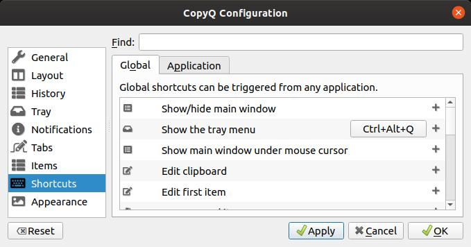 CopyQ - Application du raccourci