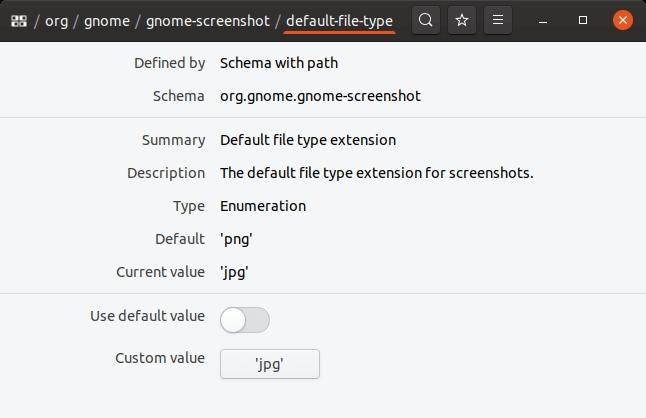 Modification du format de la capture d'écran