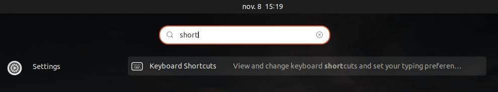 Paramètres Ubuntu de modification des raccourcis