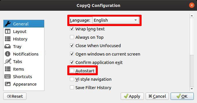 Préferences de CopyQ