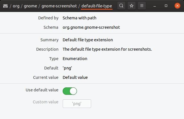 Valeur par défaut de default-type-value de gnome-screenshot