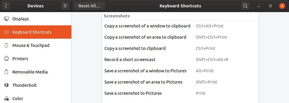 raccourci de capture d'écran Ubuntu